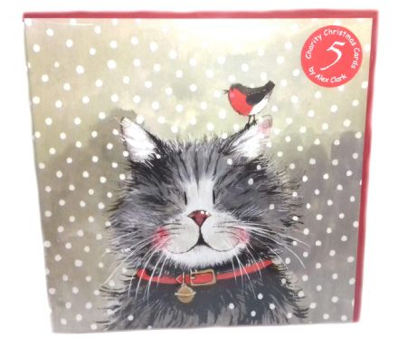 Alex Clark Pack of 5 Charity Christmas Cards with a Klaus the Cat design